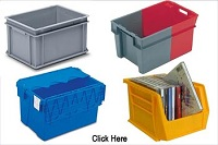 Linbins | Plastic Euro Containers | Plastic Attached Lid Security Tote Containers | Industrial Containers